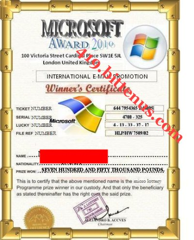 Winning certificate to